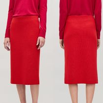 """COS""  WOOL PENCIL SKIRT VIBRANT RED"