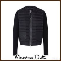 MassimoDutti♪BOMBER DOWN JACKET WITH LEATHER DETAIL