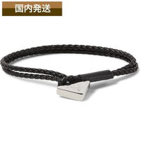 送料関税込☆PRADA☆Woven Leather And Silver Wrap Bracelet