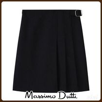MassimoDutti♪BLACK SKIRT WITH BUCKLES AND PLEATS