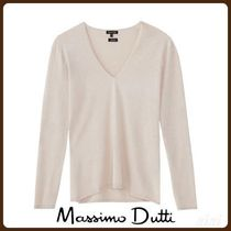 MassimoDutti♪SILK/WOOL SWEATER WITH ELBOW PATCHES