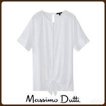 MassimoDutti♪BEJEWELLED T-SHIRT WITH KNOT