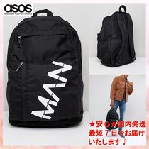 【ASOS】boohooMAN backpack with man print in black