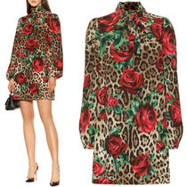 19SS DG1854 LEOPARD & ROSE PRINT SILK DRESS WITH BOW