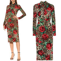 19SS DG1855 LEOPARD & ROSE PRINT SILK DRESS WITH BOW
