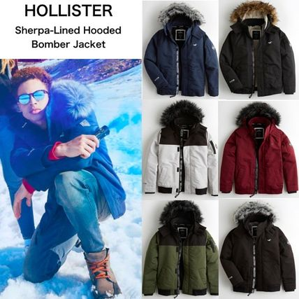 【Hollister】ホリスター Sherpa-Lined Hooded Bomber Jacket