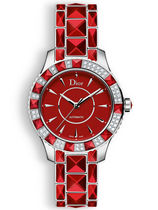 破格値Dior(ディオール)Christal Red Dial Diamond Ladies Watch