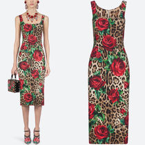 19SS DG1856 LEOPARD & ROSE PRINT STRETCH CADY DRESS