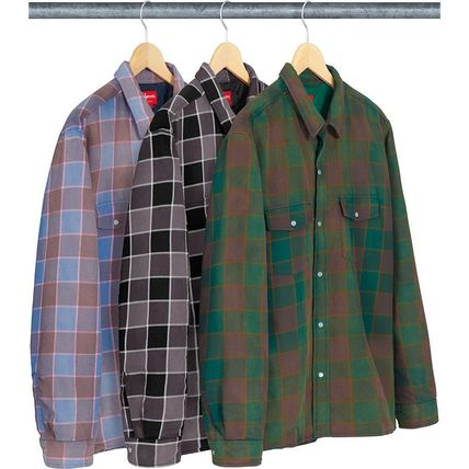 19 WEEK Supreme FW 18 Quilted Faded Plaid Shirt