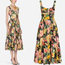 19SS DG1869 FLORAL PRINT COTTON POPLIN BUSTIER DRESS