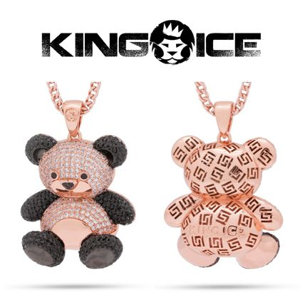 King Ice ネックレス・チョーカー 【King Ice】☆新作☆Rose Gold Two-Tone CZ Panda Necklace