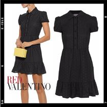 SALE【RED VALENTINO】Gathered broderie anglaise mini dress