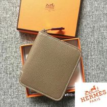 HERMES希少カラー◆Wallet Silk in compact etoupe/gris perle◆