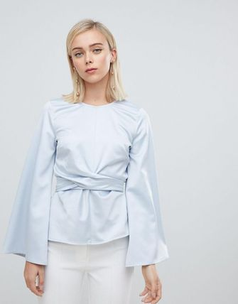 buyma asos design long sleeve top with tie front and bell sleeve
