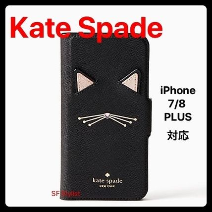 Kate Spade★手帳型Cat AppliqueネコiPhone 7/8PLUSケース猫