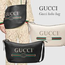 GUCCI プリント ハーフムーン ホーボーバッグ