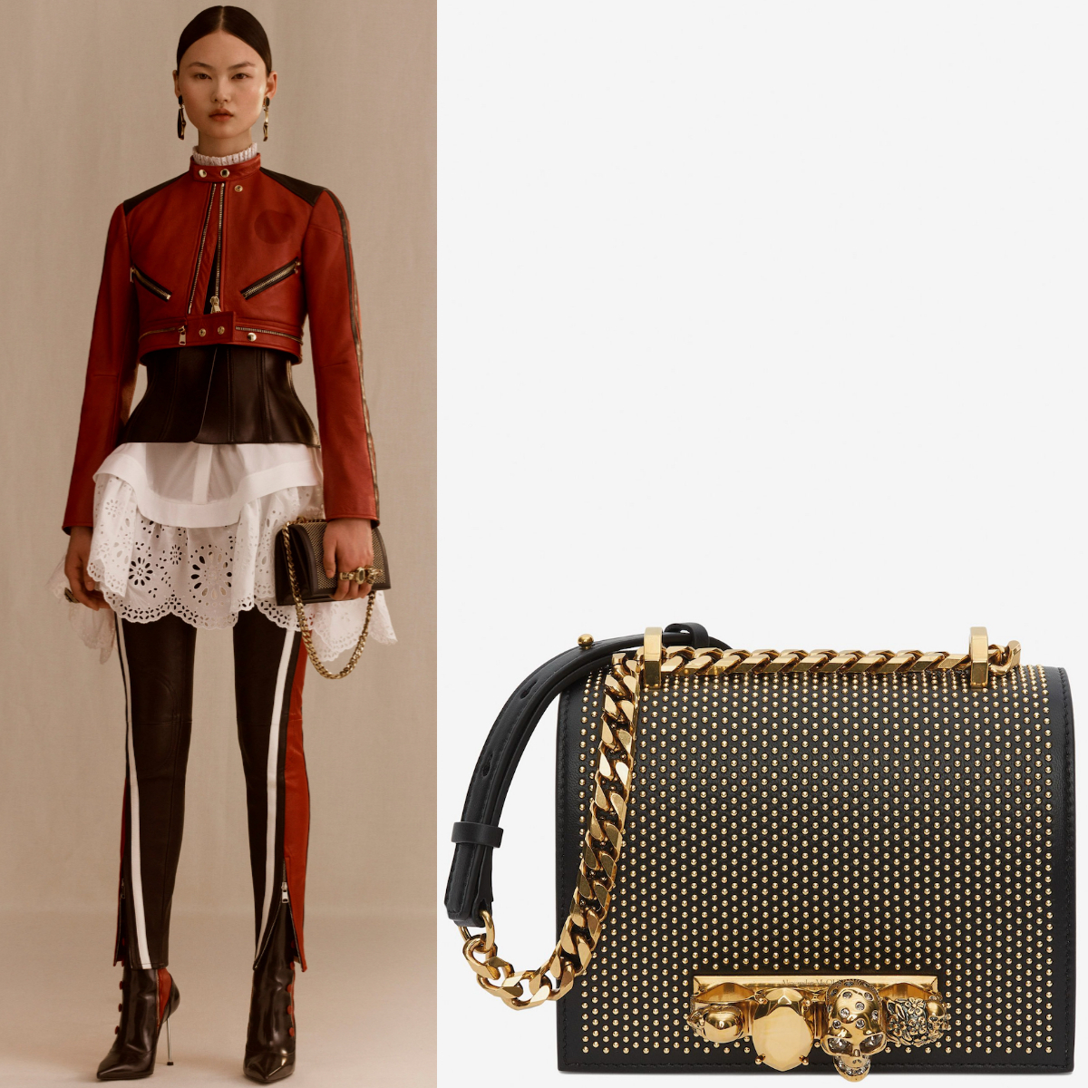 19SS AM462 LOOK8 STUDDED SMALL JEWELED SATCHEL (alexander mcqueen/ショルダーバッグ・ポシェット) 5585411B11T1000