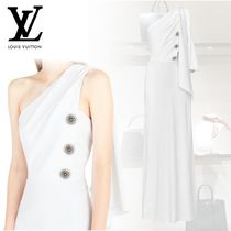 【Louis Vuitton】LONG ONE SHOULDER DRESS WITH JEWEL BUTTONS