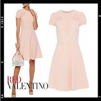 SALE【RED VALENTINO】Bow-embellished pleated crepe dress