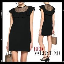 SALE【RED VALENTINO】Ruffled dress with dot tulle panel