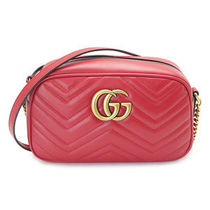 GUCCI    GG MARMONT  ショルダーバッグ HIBIS RED