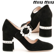 【MiuMiu】Mary Janes With Crystals スエード 黒 パンプス