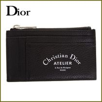 DIOR HOMME/ロゴ レザー ファスナーポケット付 カードケース 黒