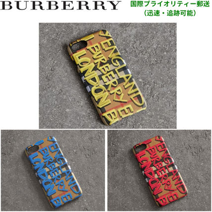 BURBERRY Graffity Print Vintage Check Leather iPhone 8 Case