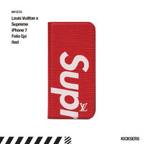 人気話題!Louis Vuitton x Supreme iPhone 7 Folio Epi Red