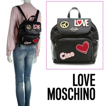 44bafbd6a1f5 Love Moschino バックパック・リュック Love Moschino☆ボア刺繍☆エコレザー☆Ciao バック ...