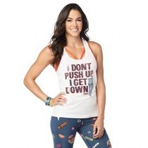 ZUMBA(ズンバ) フィットネストップス 国内発送 ズンバ Zumba Get Down Ribbed Tank Wear It Out White