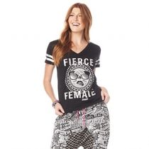 ★国内発送 ズンバ Zumba Fierce Female V Neck Top Bold Black