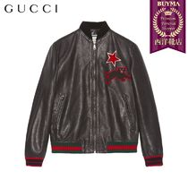 【正規品保証】GUCCI★19春夏★LEATHER BOMBER W/ EMBROIDERIES
