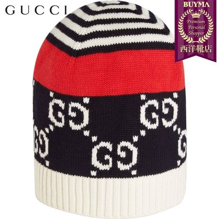 GUCCI ニットキャップ・ビーニー 【正規品保証】GUCCI★19春夏★COTTON HAT WITH GG MOTIF