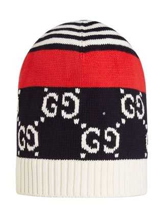 GUCCI ニットキャップ・ビーニー 【正規品保証】GUCCI★19春夏★COTTON HAT WITH GG MOTIF(2)