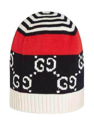 GUCCI ニットキャップ・ビーニー 【正規品保証】GUCCI★19春夏★COTTON HAT WITH GG MOTIF(3)