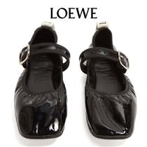 【19SS】LOEWE★Logo-tab patent-leather flats