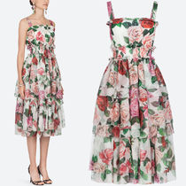 19SS DG1885 ROSE PRINT SILK CHIFFON TIERED DRESS