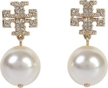 TORY BURCH●ハイセンス CRYSTALS AND パール ロゴ EARRINGS