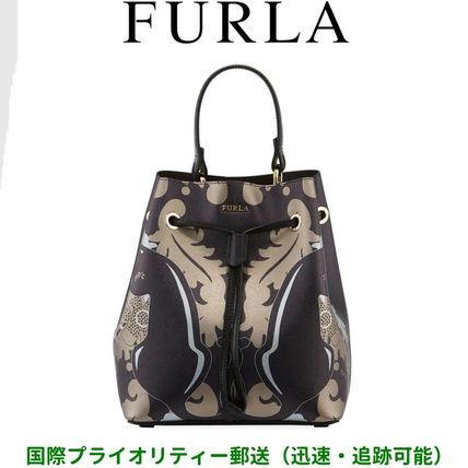 FURLA Stacy キャットプリント・レザーバケット(ポーチ付)