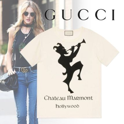 b7a02b09a5f GUCCI Tシャツ・カットソー  2019Cruise GUCCI Chateau Marmont プリント Tシャツ Ladies ...