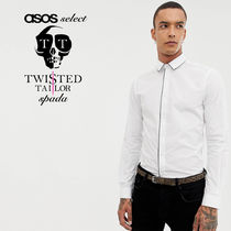 SALE【Twisted Tailor】長袖 スキニーシャツ ホワイト/ 送料無料