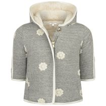Baby Girls Grey Fleece Coat With Embroidered Flowers