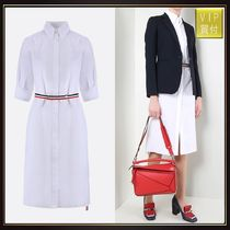 【THOM BROWNE】poplin shirt dress with tricolor detail