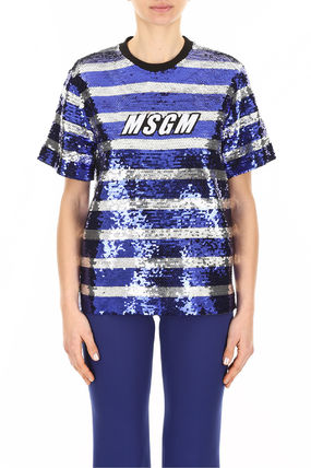 MSGM Tシャツ・カットソー MSGM Sequins Striped Blouse With Logo(2)