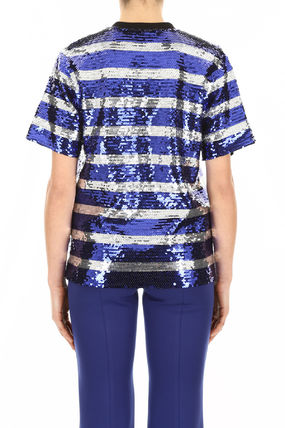 MSGM Tシャツ・カットソー MSGM Sequins Striped Blouse With Logo(3)