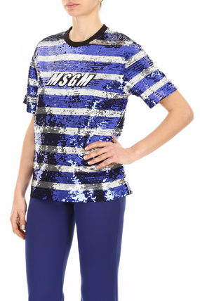 MSGM Tシャツ・カットソー MSGM Sequins Striped Blouse With Logo(4)