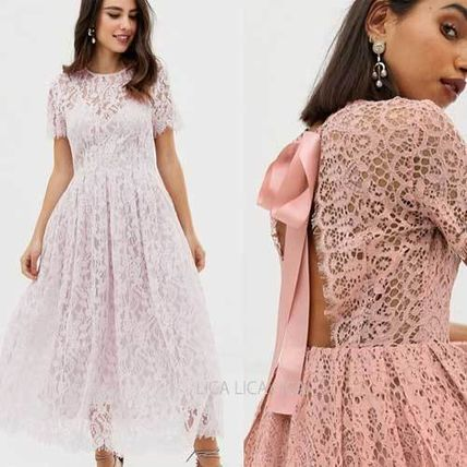3b5a0b388fde ASOS ワンピース 国内発送ASOS DESIGN lace midi dress ribbon tie and open back ...
