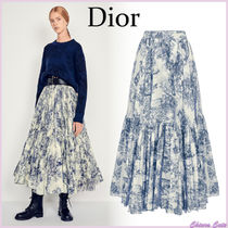 【19Cruise NEW】Dior_women / プリントギャザースカート_白×青