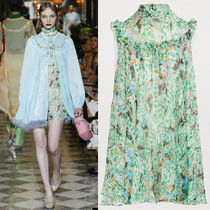 MM750 LOOK45 FLORAL PRINT HIGH-NECK MINI DRESS